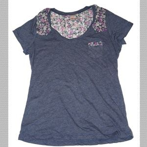 Mossimo Floral and Blue Blouse with Pocket